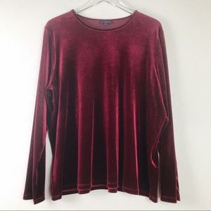 Lands' End Velvet Long Sleeve Blouse Size 2X